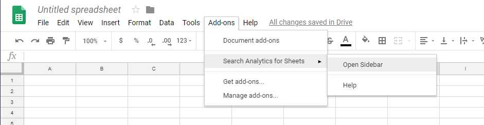 Opening Google search console extension in google sheets