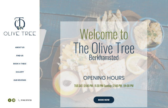 AME Webtech website designed for the olive tree in berkhamsted